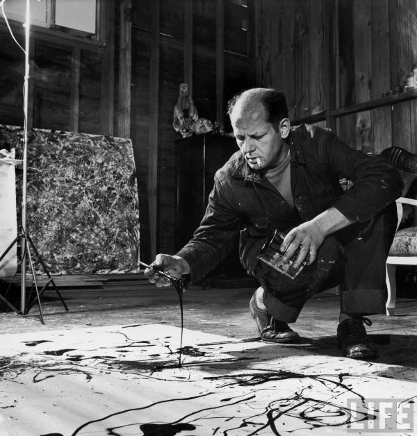 Jackson Pollack in his Springs, NY studio- 1949.