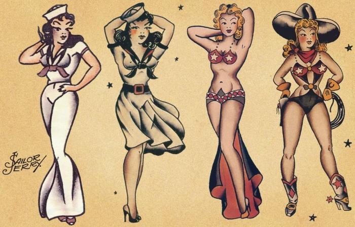 sailor jerry tattoos pinup babes