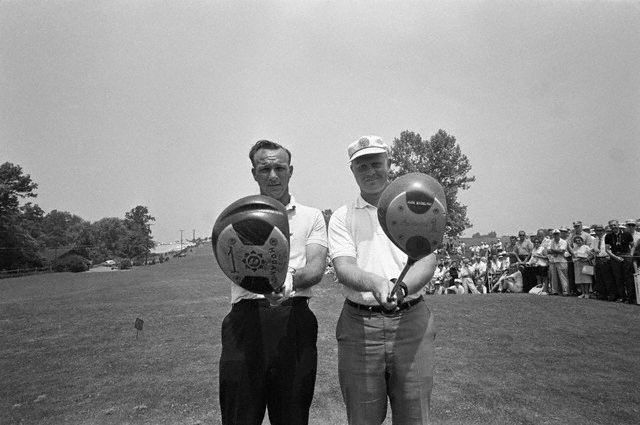 Arnold Palmer and Jack Nicklaus check their driver clubs before teeing off for a tie breaking playoff  in the 1962 US Open-- Oakmont Country Club, Pennsylvania.