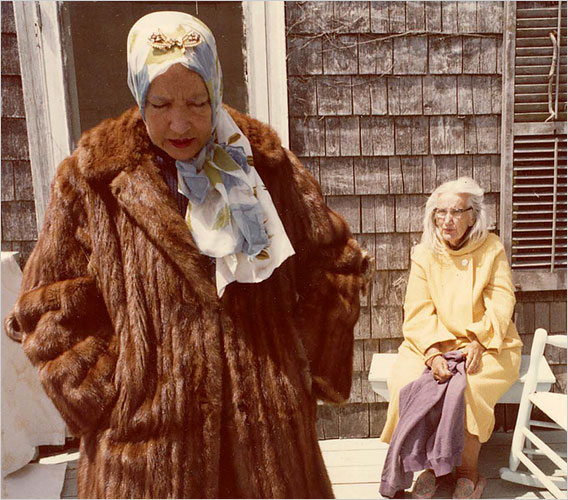 "Albert Maysles revisited the Beales himself in 2006 with ""The Beales of Grey Gardens,"" an assemblage of outtakes from the original documentary.  Little Edie (foreground) and Big Edie outside their East Hampton home."
