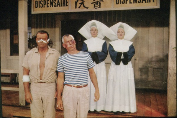 John Wayne & Lee Marvin hamming it up during the filming of Donovan's Reef.