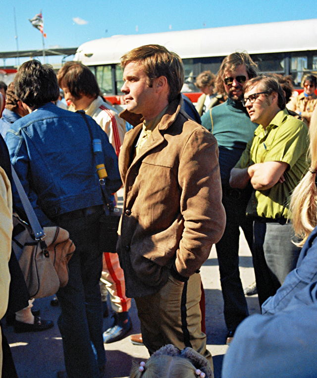 Mark Donohue seen here at the driver's meeting prior to the start of the 24 Hours of Daytona. He was very popular with fans and race workers alike. He is remembered for driving the Penske 917/30 Porsche in the Can-Am races but he could literally drive anything. He died in 1975 while practicing for a F1 race.