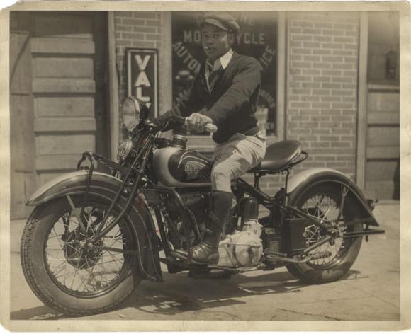 vintage black motorcycle rider