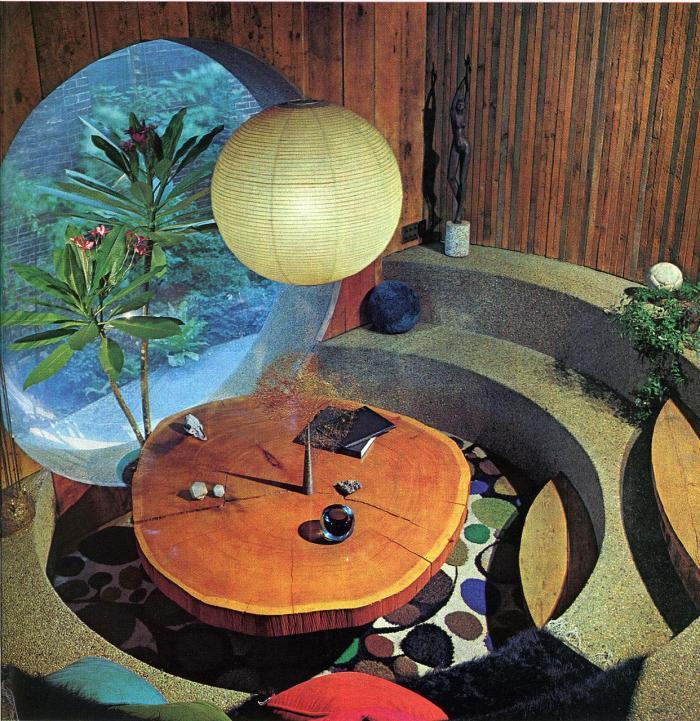 Retro modern organic conversation pit.