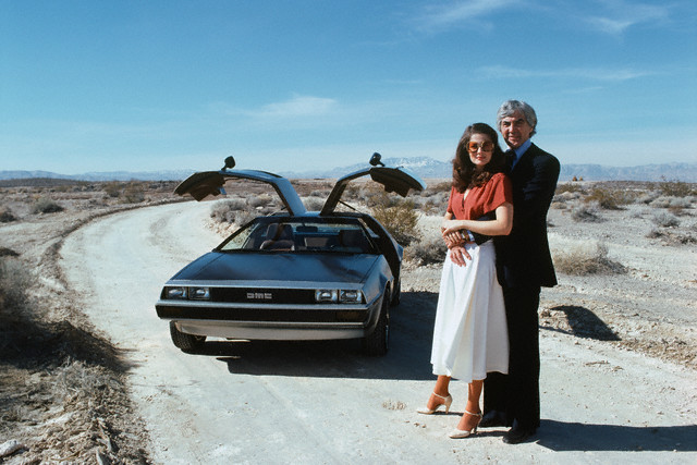 John DeLorean and his wife Cristina Ferrare with the famous DeLorean car-- March, 1979.