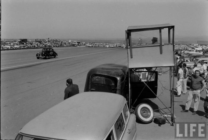 The precarious perch at Santa Ana Drags, w/supply Hearse below-- late 50s.