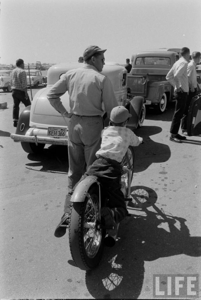 A most excellent father & son day at the Santa Ana Drag Strip-- late 50s.