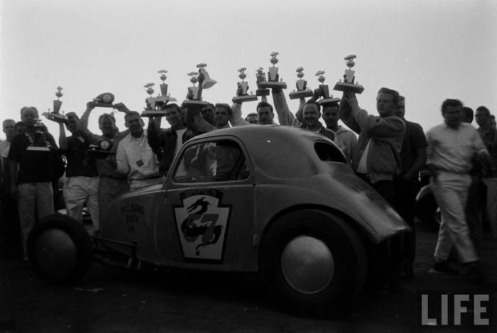 """Look Ma', I won!'  --Santa Ana Drag Strip, 1950s."