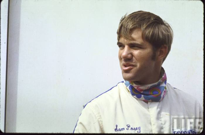Sam Posey feeling very comfortable with his bad self in a fun, printed neckerchief-- 1969.