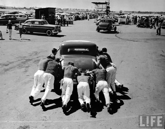 """Sounds by Rocket' crew at work at the Santa Ana Drag Strip."
