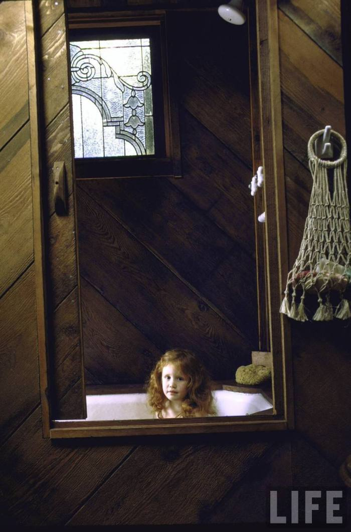 Here, daughter Tavia is taking a bath.