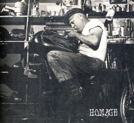 A young Kenny Howard, self-named Von Dutch, perfects his pin-striping craft.