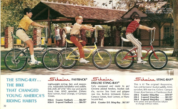 Vintage Schwinn Stingray catalog color ad.