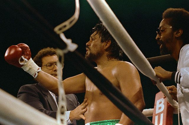 Middleweight boxer Roberto Duran sits in his corner of the ring during his bout with Pat Lawlor at The Mirage in Las Vegas, Nevada. Duran lost this fight after being KO'd in the sixth round.