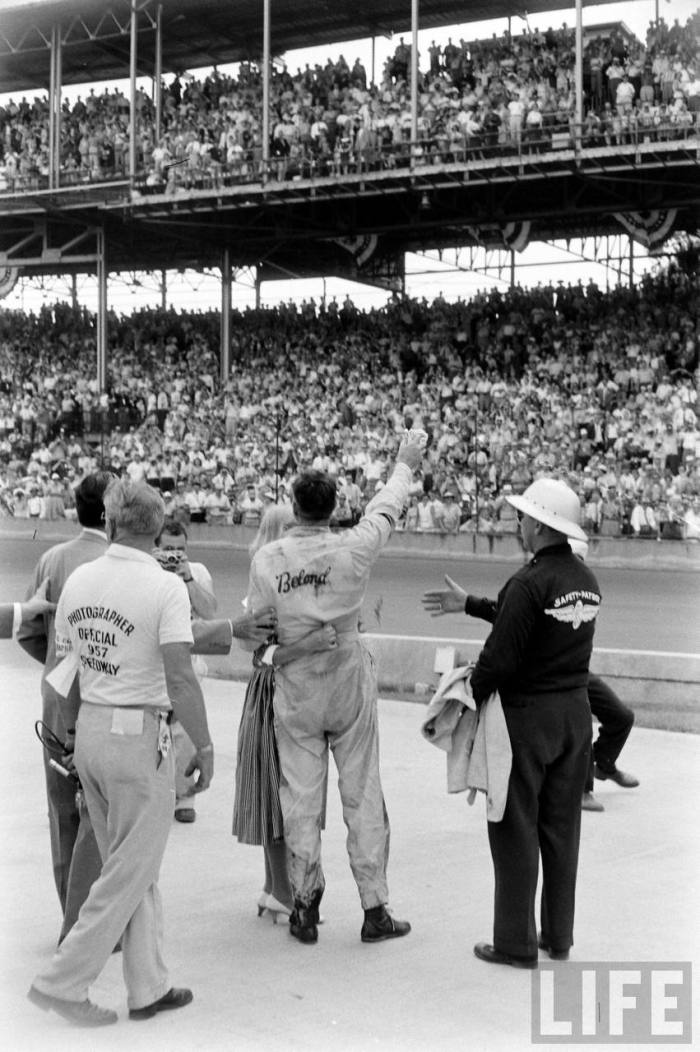 1957-- Driver Sam Hask emerges victorious after years of battling for an Indy 500 victory.