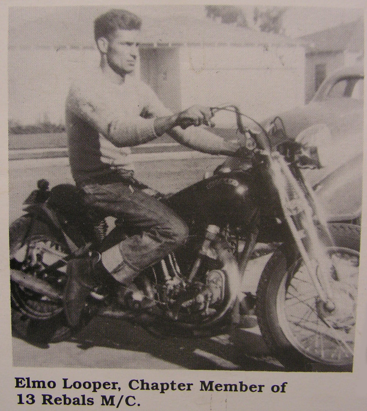 Elmo Looper of 13 Rebels MC aboard his custom Excelsior Super X racer with Crocker oil pumps for street use.