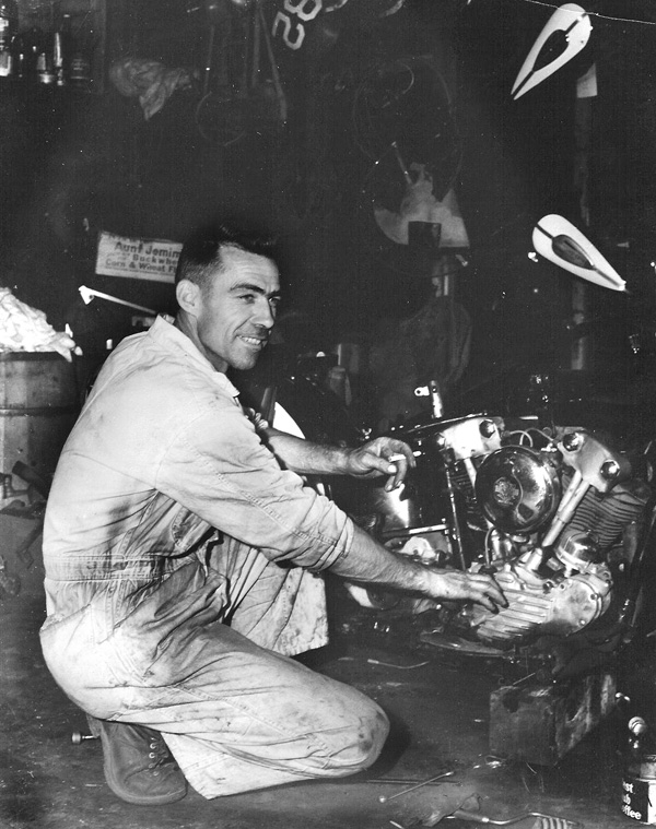 Shell Thuet of 13 RMC working on a HD Knucklehead, 1946.