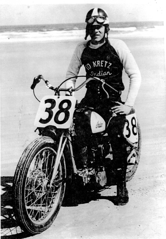 "Motorcycle racing great ""Iron Man"" Ed Kretz Sr. on his trusty Triumph."