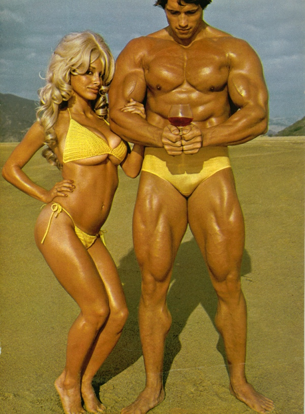 Arnold Schwarzenegger with female friend in his prime, 1970s.
