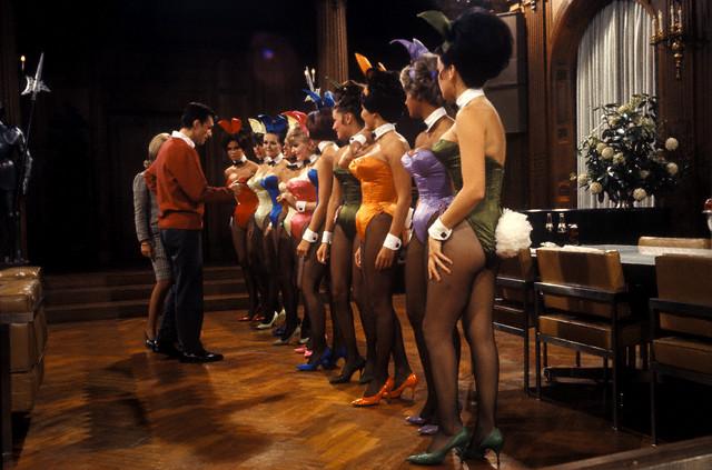 Hugh Hefner and his Playboy Bunnies at the Playboy Mansion --1966.