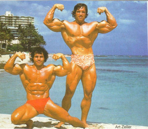 Bodybuilding legends-- Arnold Schwarzenegger and Franco Columbo
