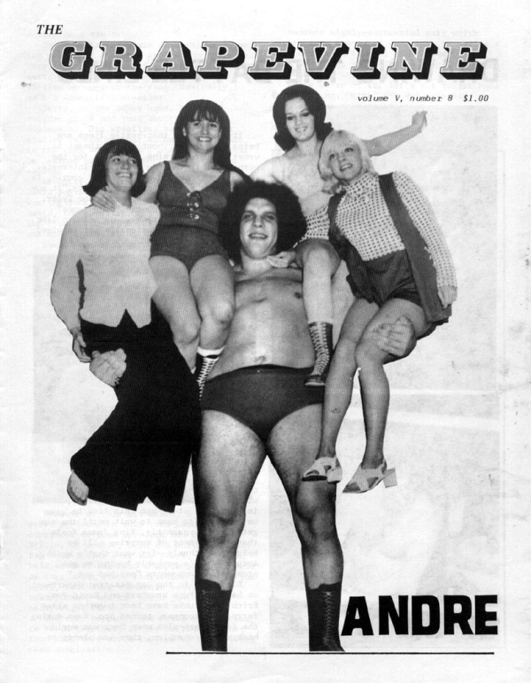 Andre the Giant with an armload of uh, beauties --back in 1982.