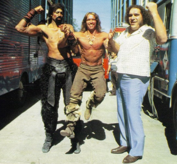 Wilt Chamberlain, Arnold Schwarzenegger, Andre the Giant-- on the set of Conan.