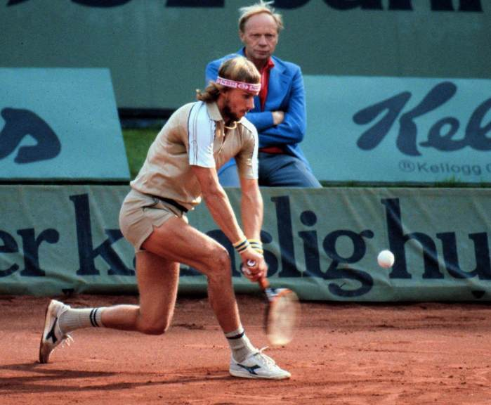Bjorn Borg displaying his wicked double-handed backhand at the 1978 Davis Cup.