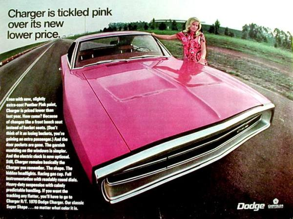 The Dodge Charger... tickled pink?  Really?