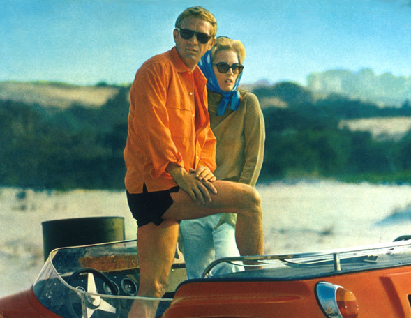 Steve McQueen & Faye Dunaway with the dune buggy from The Thomas Crown Affair.