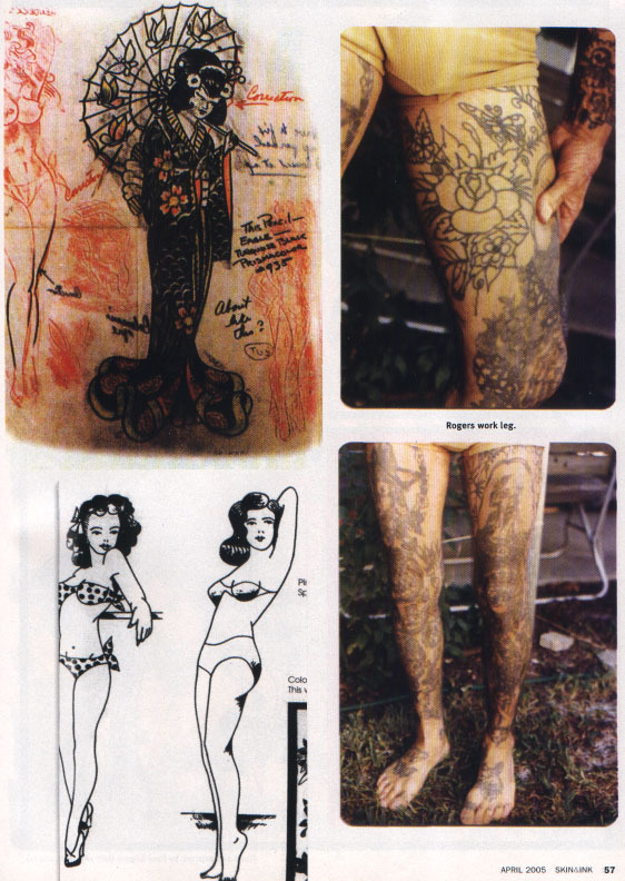 Examples of tatoo legend Paul Rogers' work.