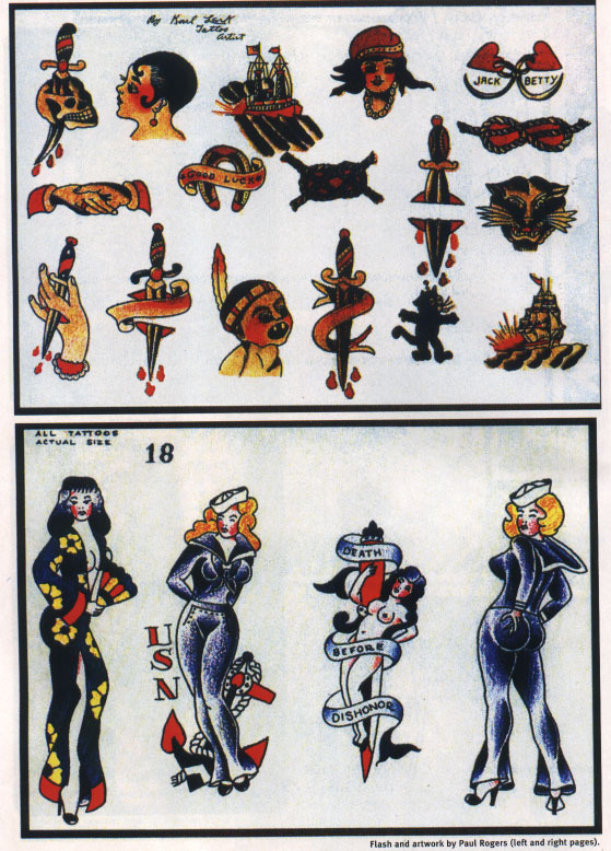 Examples of American tattoo legend Paul Rogers' original flash.