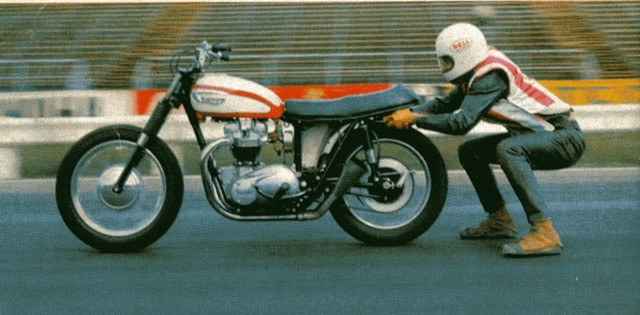 Kenny Brown favored performing his unique brand of motorcycle trickery on a trusty triumph.