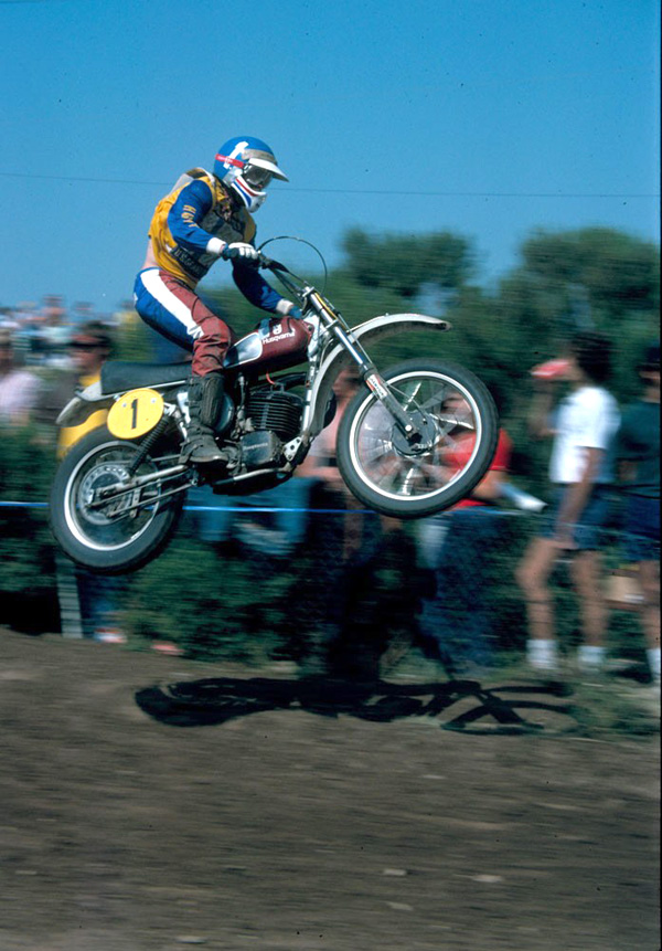 "Heikki Mikkola, the ""Flyin' Finn"" was one of the most popular and feared motocross racers of the 1970s. During his illustrious career, Mikkola collected four World Grand Prix Motocross Championship titles.  Mikkola won the 1974 World Grand Prix 500cc Championship on a Husqvarna."