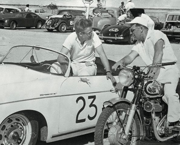 January 1954, Palm Springs, CA.  Original caption that ran with the news of Dean's death--  Young Movie Star Killed in Auto Accident.  Los Angeles, California:  James Dean, 24 year old movie actor who shot to stardom in his first picture, , was killed last night at the wheel of his $7,000 racing car when he collided with another auto on a highway intersection near Paso Robles, Cal.  This photo, showing Dean in the cockpit of his Porsche sports car, was made after he won a race at Palm Springs last January.  He is talking to Ed Kretz, motorcycle racer.  Dean was driving a new Porsche Spyder when he was killed.
