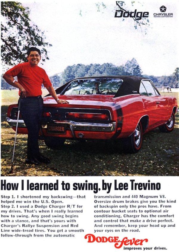 Vintage Lee Trevino Dodge Charger ad
