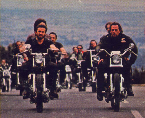 Sonny Barger riding with his Hells Angels brothers.