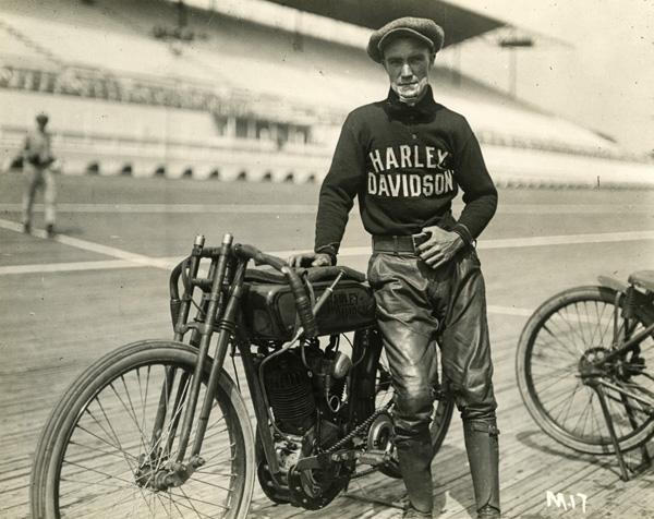 Jim Davis with Harley-Davidson board-tracker.