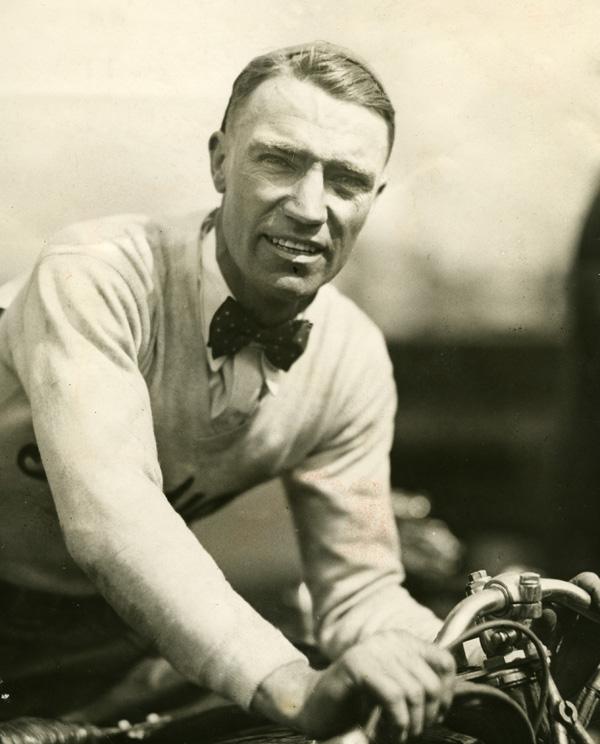Motorcycle racing legend Jim Davis, circa 1931.