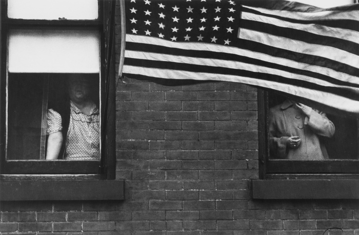 Parade-- Hoboken, New Jersey, 1955 by Robert Frank.