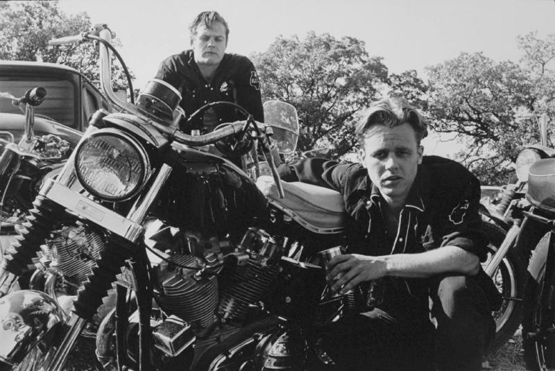 """Brucie, his CH, and Crazy Charlie, McHenry, Illinois""  from The Bikeriders by Danny Lyon  --circa 1965-66."