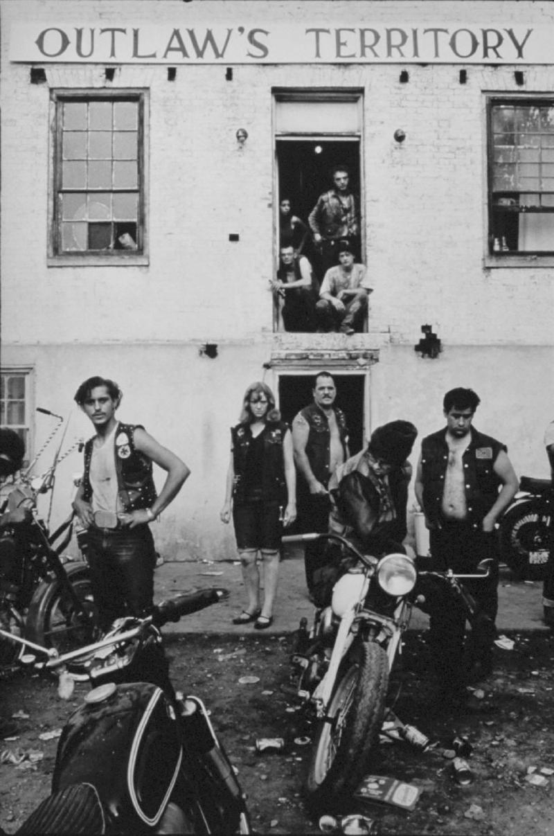 """Clubhouse during the Columbus run, Dayton, Ohio""  from The Bikeriders by Danny Lyon  --circa 1965-66."