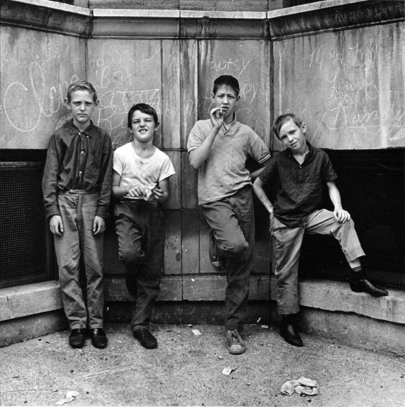 "Four boys, Uptown, Chicago"" Pictures from the New World by Danny Lyon  --1968."