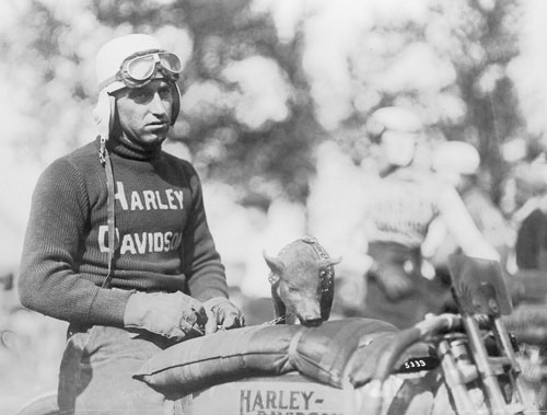 Ray Weishaar was undoubtedly one of the best known and popular motorcycle racing stars of the 1910s and 1920s. He rode the board and dirt tracks of the country for the Harley-Davidson factory racing team.
