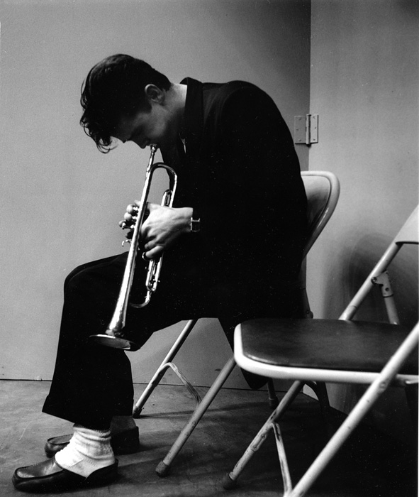 Chet Baker (trumpet towards floor) Los Angeles record session, 1953  --Bob Willoughby