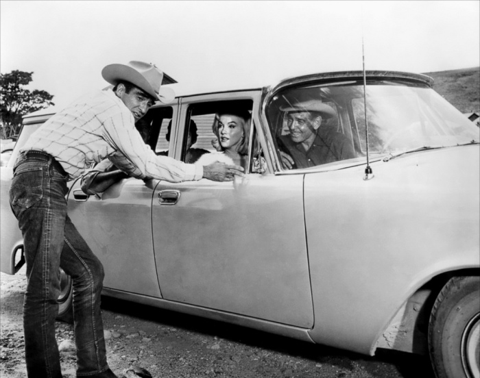 """Montgomery Clift in Lee selvedge denim, here with Marilyn Monroe and Clark Gable, his costars in """"The Misfits"""""""