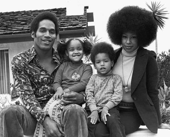 Happier days? O.J. Simpson, daughter Arnelle, son Jason, and first wife Marguerite.