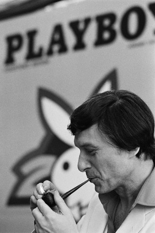 Hugh Hefner at the 25th anniversary of his Playboy magazine, ca. 1978.