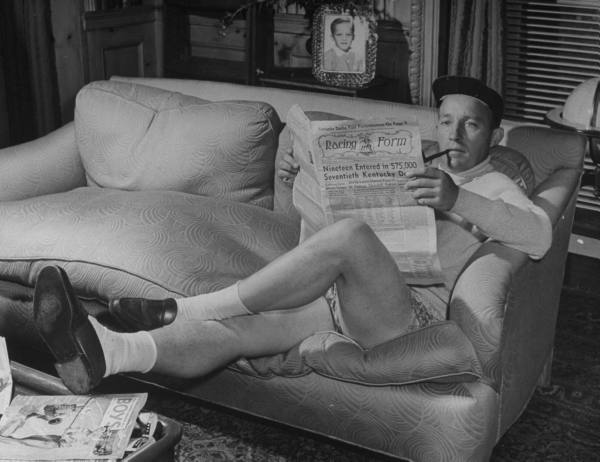 Legendary crooner, Bing Crosby smoking it up, and totally at ease.
