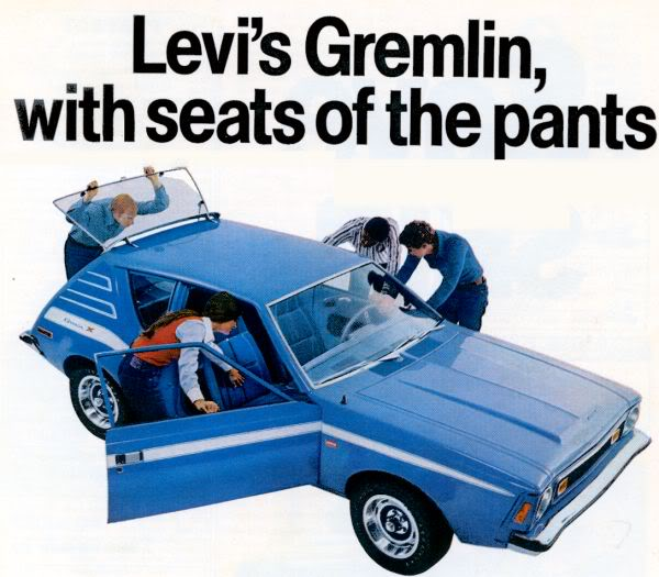 Back in the day (this ad from '72) you could get an AMC Gremlin with a denim interior by Levi's.